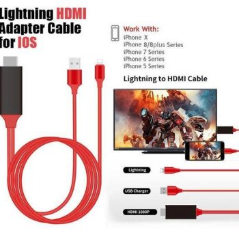 Lighting HDMI Adapter Cable For IOS | iPhone 5/ 6/ 7/ 8/ X Screen To TV Cable