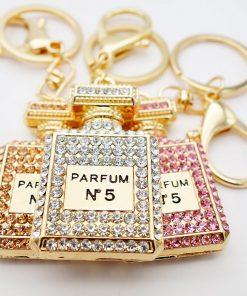Crystal Charm Perfume Bottle Keychain