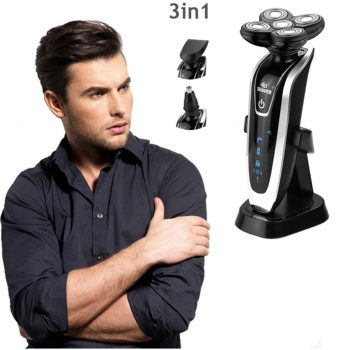 3 in 1 Washable Rechargeable Electric Shaver With Nose Hair Trimmer & Sideburns Cutter