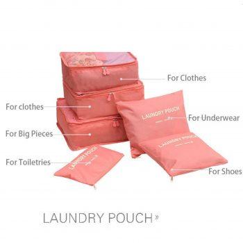 6pc Secret Pouch Travel Packing Cubes