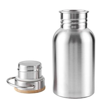 Stainless Steel Water Bottle With Bamboo Cap