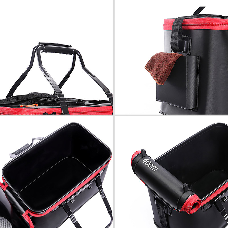 Grneric Fishing Bucket 6Gallon//8Gallon//10Gallon Foldable Fish Bucket,Live Fish Container Multi,Functional Fish Live Bait Bucket,Outdoor Camping EVA Fishing Bag and Fish Protection Bucket