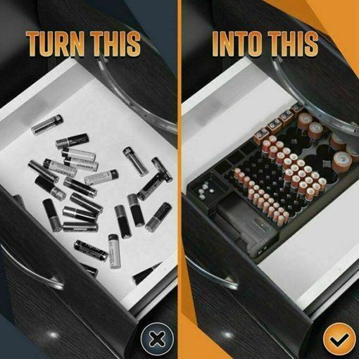 Battery Storage Organizer Holder with Tester