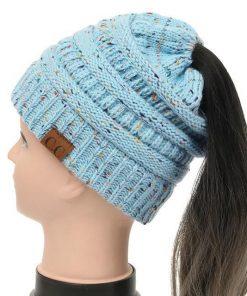 Soft Knit Ponytail Confetti Beanie