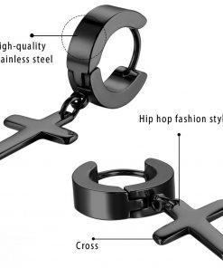 Stainless Steel Punk Dangle Cross Huggie Hoop Earrings