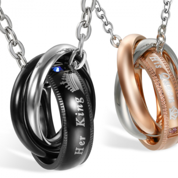 """""""His Queen"""", """"Her King"""" Lover Stainless Steel Couple Bracelets"""