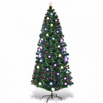 7.5Ft Pre-Lit Fiber Optic Artificial Christmas Tree w/ Multicolor Lights & Stand