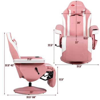 Massage Gaming Chair Reclining Racing Chair Swivel