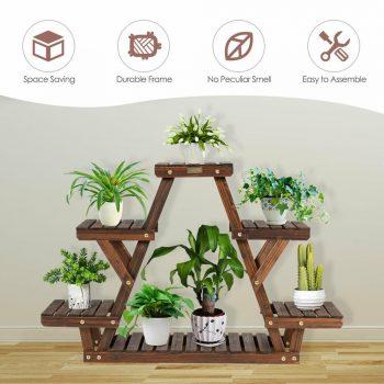 Wooden Flower Shelf Storage Rack Plant Holder (6 Tier)