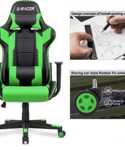 Ergonomic Massage Gaming Chair – Green