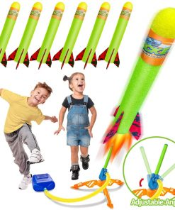 Toy Rocket Launchers for Kids-Outdoor Toys for Kids with 6 Foam Air Jump Rockets