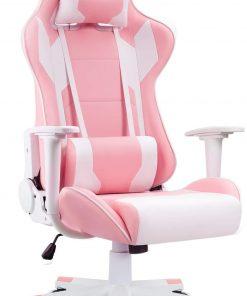 Ergonomic Massage Gaming Chair – Pink