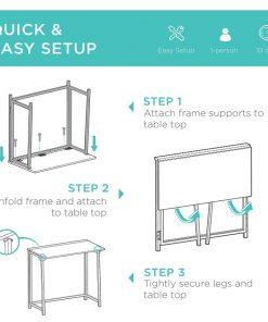 Folding Table Drop Leaf Desk – Computer Workstation for Home Office