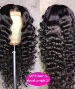 Human Hair Wigs Loose Deep Wave Kinky Curly Hair 4×4 Lace Closure Wig Brazilian Hair