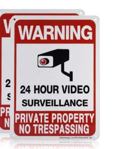 2-Pack Private Property No Trespassing Sign, video surveillance signs outdoor, UV Printed .040 Mil Rust Free Aluminum 10 x 7 in, Security camera sign for home, Business, Driveway Alert