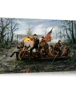 Trump Crossing The Swamp Canvas Wall Art by Trump is Punk Rock