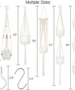 5-Pack Macrame Plant Hangers with 10 Hooks, Handmade Cotton Rope Hanging Planters Set